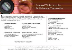 Testimonies on Jasenovac of Jewish survivors in Fortunoff Video Archive for Holocaust Testimonies of Yale University
